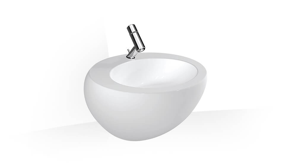Washbasin with integrated siphon cover by Laufen at ABC Emporio Kochi