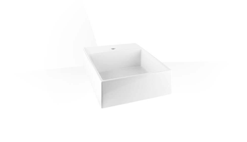 Wall-mounted or counter washbasin in White Europe Ceramic by Gessi at ABC Emporio Kochi