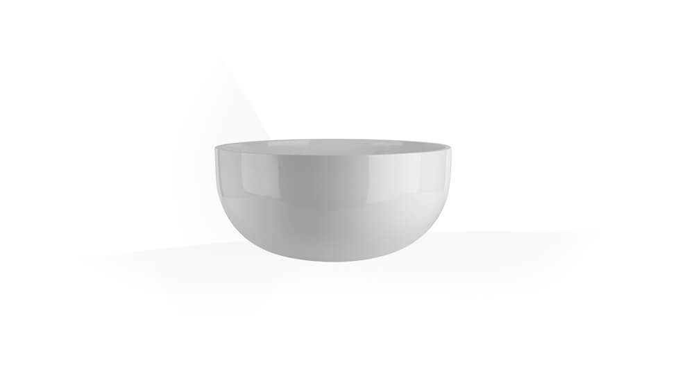Counter washbasin in Ceramilux ® (bright white) without overflow waste. by Gessi at ABC Emporio Kochi