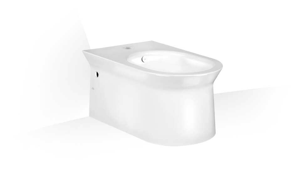 Wall hung bidet in in White Europe Ceramic with overflow waste, with central hole for taps and fittings.  by Gessi at ABC Emporio Kochi