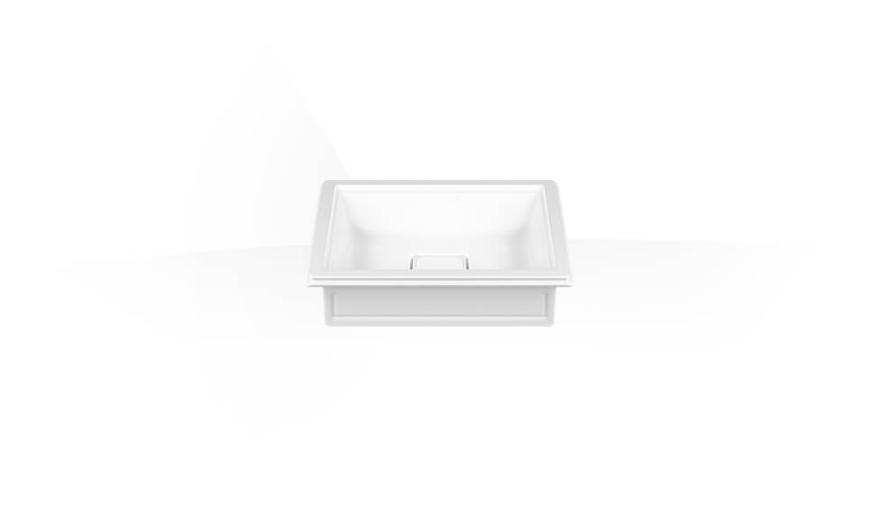Counter or under counter washbasin in White Europe Ceramic, without overflow waste. by Gessi at ABC Emporio Kochi