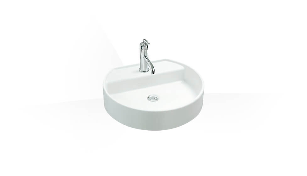 Vessel lavatory with single faucet hole by Kohler at ABC Emporio Kochi