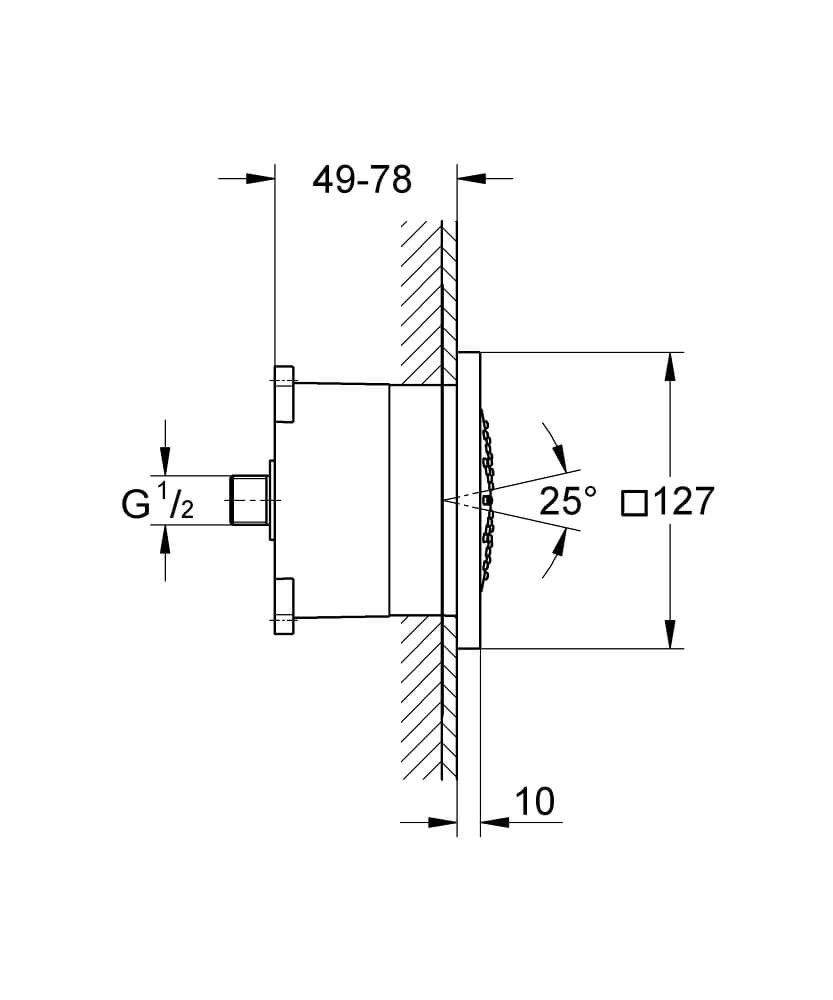 27251000 - Rainshower F-Series 5″ Side shower 1 spray - Technical Drawing