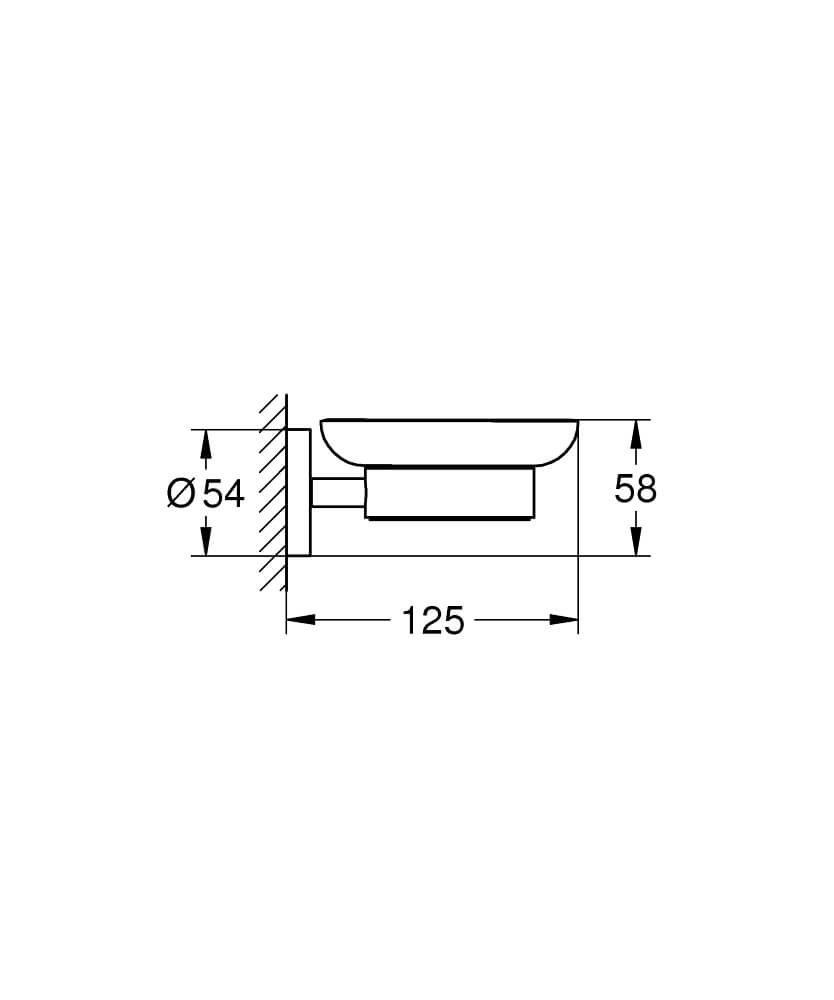 40444001 - Essentials Soap dish with holder - Technical Drawing