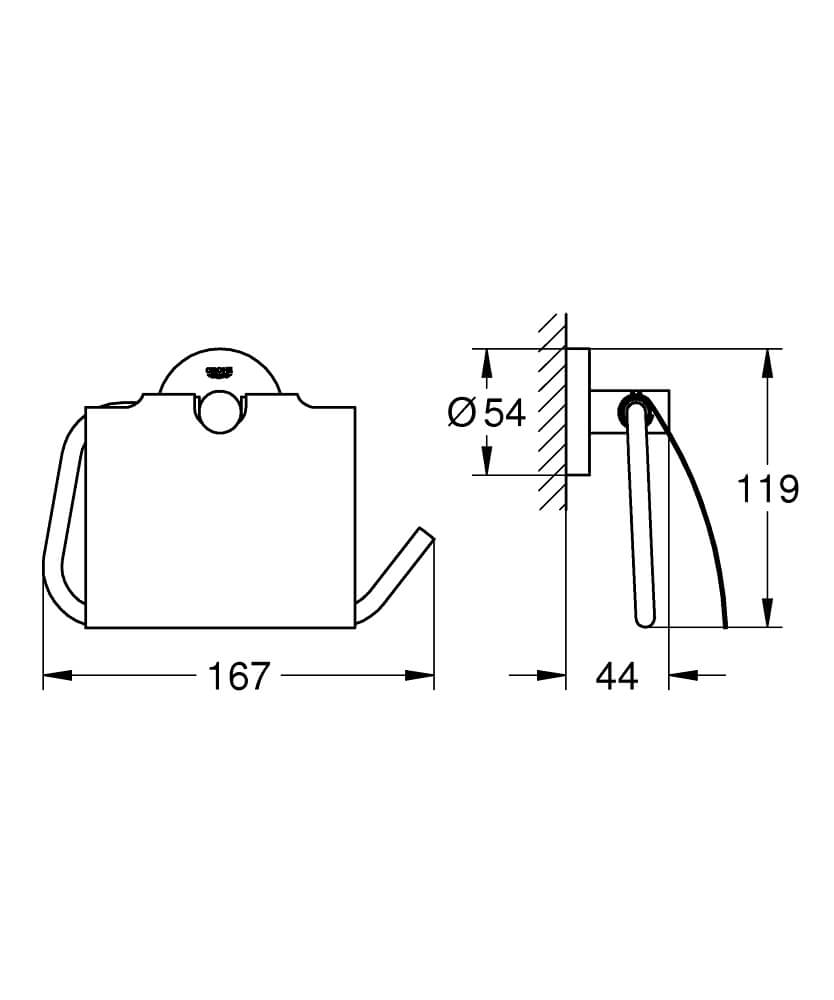 40367000 - Essentials Toilet paper holder - Technical Drawing