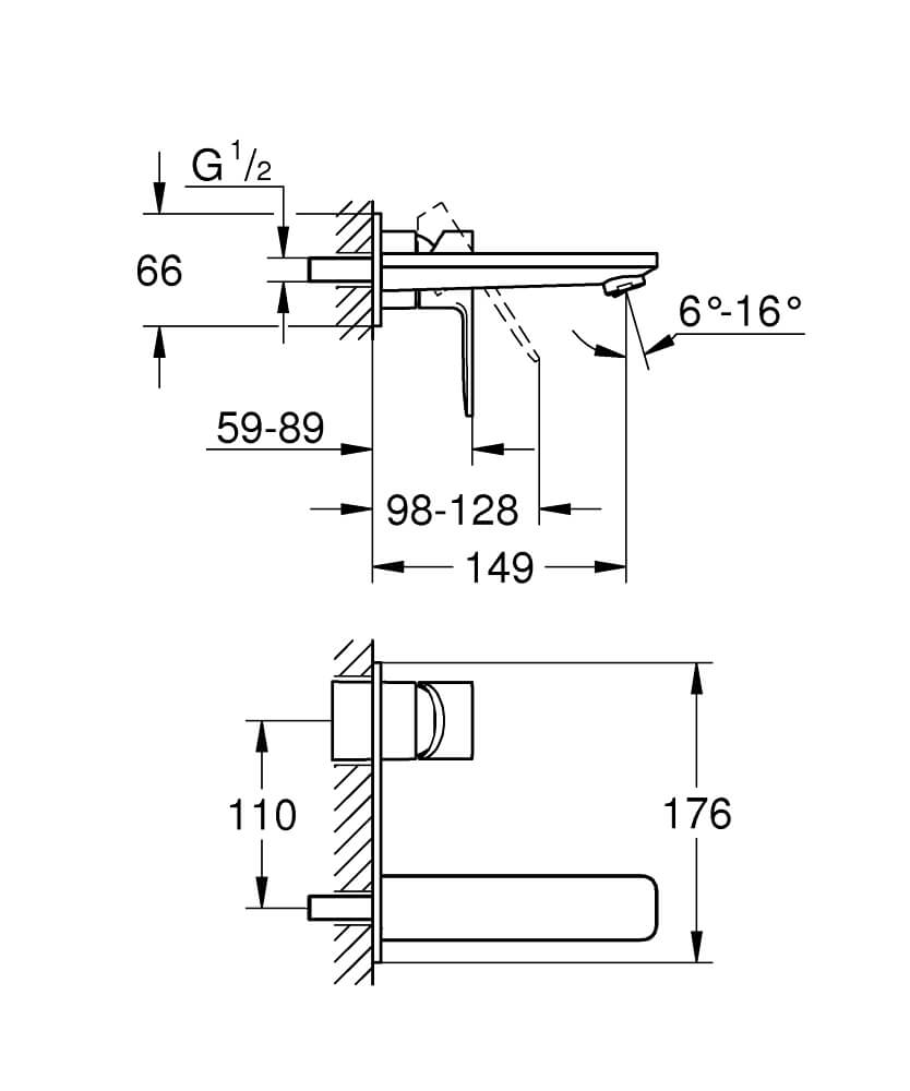 19409001 - Lineare Two-hole basin mixer M-Size - Technical Drawing