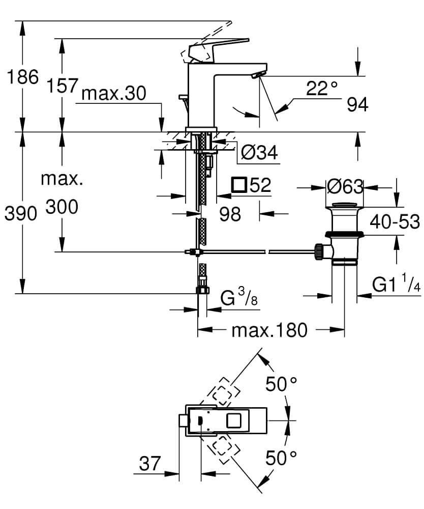 23127000 - Eurocube Single-lever basin mixer 1/2″ S-Size - Technical Drawing