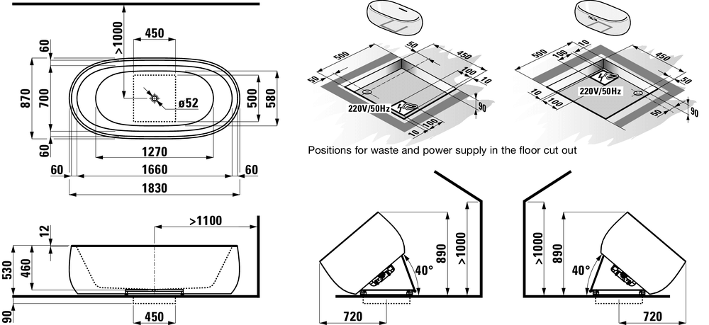 245972 - Bathtub, solid surface material, freestanding version, with lifting system - Technical Drawing