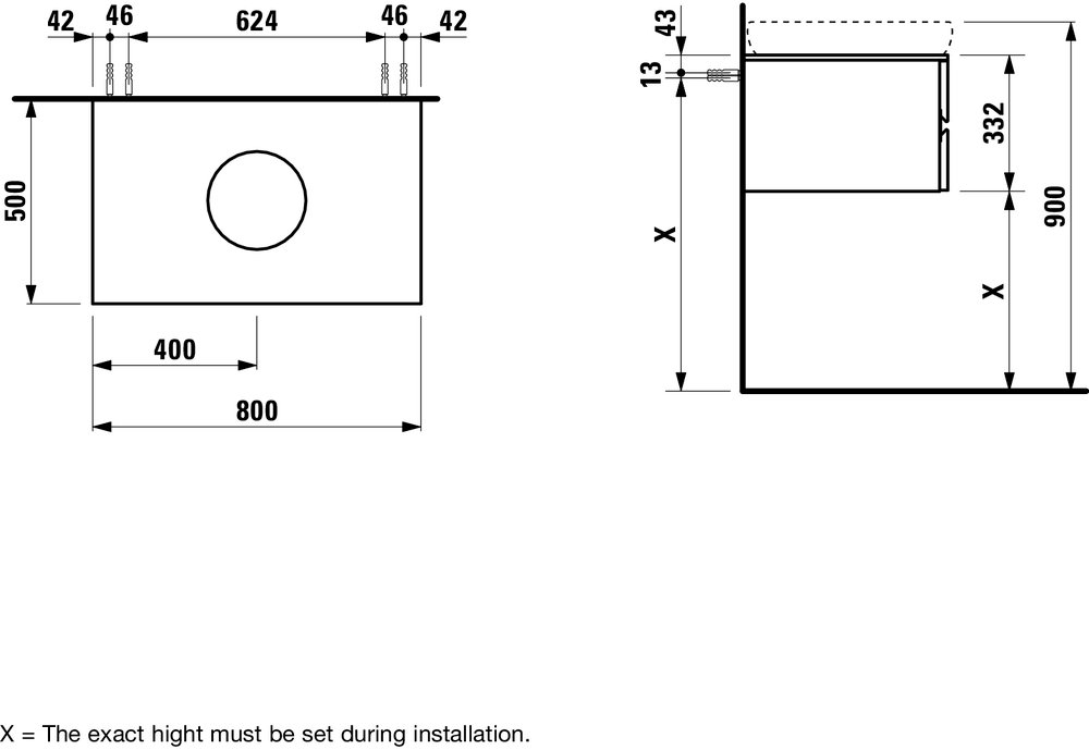424033 - Vanity unit, 800 mm, with centre cut-out and with softclose - Technical Drawing