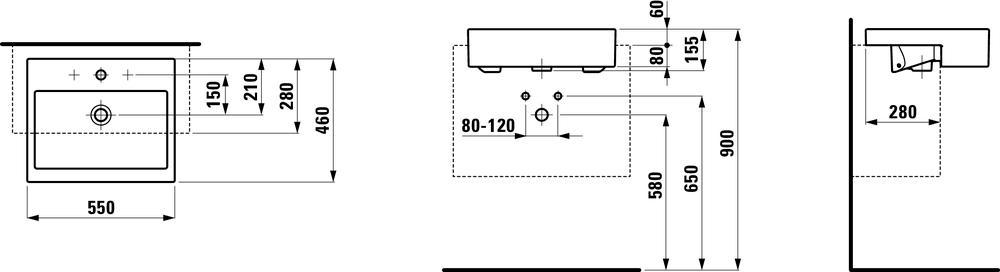 813432 - Semi-recessed washbasin - Technical Drawing