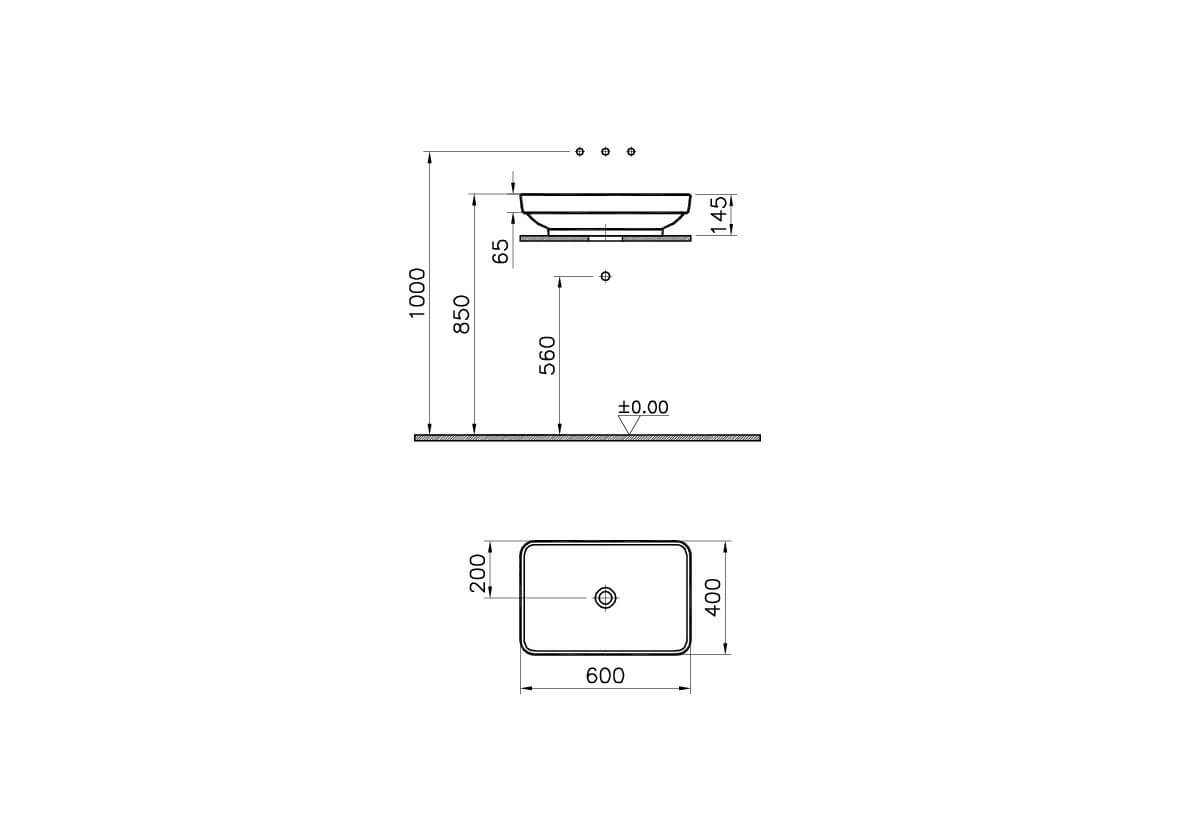 4442B072H0016 - Water Jewels Rectangular Countertop Basin, 60 cm - Technical Drawing