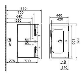 54785 - S20 Washbasin Unit 85 cm, Golden Cherry - Technical Drawing