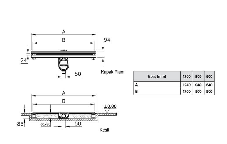 5608166 - SC100 090 Rectangular Thin-Cut Matte Chrome, Vertical - Technical Drawing