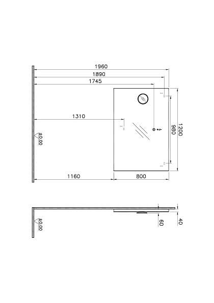 58273 - Deluxe Mirror, Mini Magnifying, 120 cm - Technical Drawing