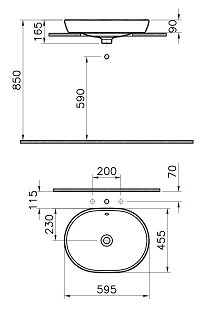 5942B003H0012 - Metropole Countertop Round Bowl, 60 cm, without Tap Hole, with Overflow Hole - Technical Drawing