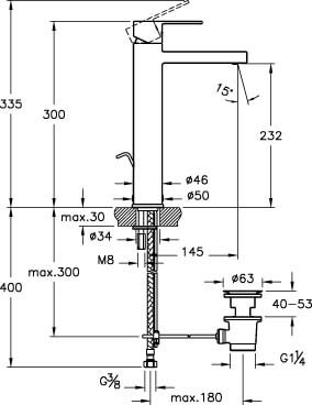 A41942IND - Flo S Basin Mixer (with Pop-Up- for Bowls) - Technical Drawing
