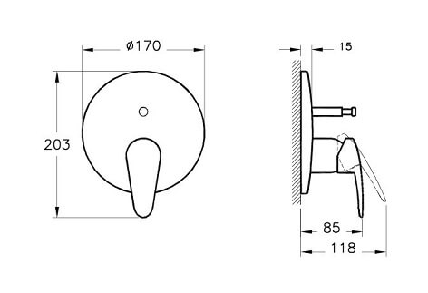 A42211IND - Dynamic S Built-in Bath/Shower Mixer (Exposed Part) - Technical Drawing