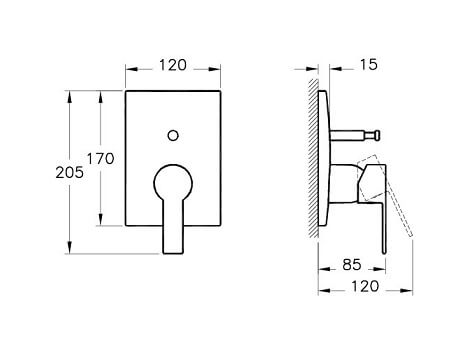 A42212IND - Flo S Built-in Bath/Shower Mixer (Exposed Part) - Technical Drawing