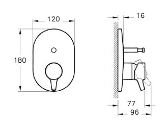 A42227IND - Nest Trendy Built-in Bath/Shower Mixer (Exposed Part) - Technical Drawing