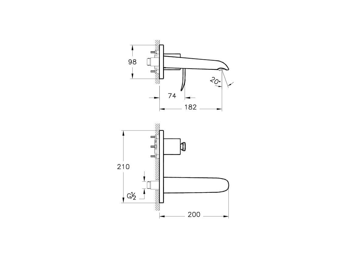 A42236IND - T4 Built-in Basin Mixer (Exposed Part) - Technical Drawing