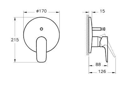 A42251IND - X-Line Built-in Bath/Shower Mixer (Exposed Part) - Technical Drawing