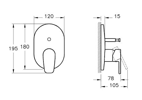 A42260IND - Z-Line Built-in Bath/Shower Mixer (Exposed Part) - Technical Drawing