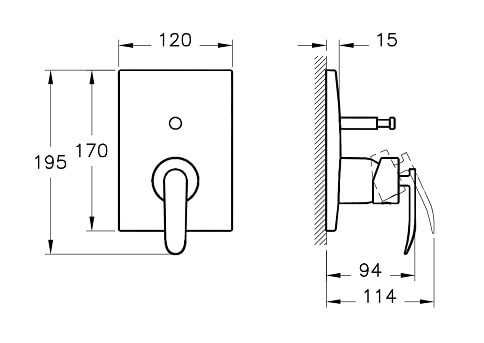 A42281IND - T4 Built-in Bath/Shower Mixer (Exposed Part) - Technical Drawing