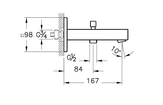 A42393IND - Q-Line Bath Spout with Handshower Outlet - Technical Drawing