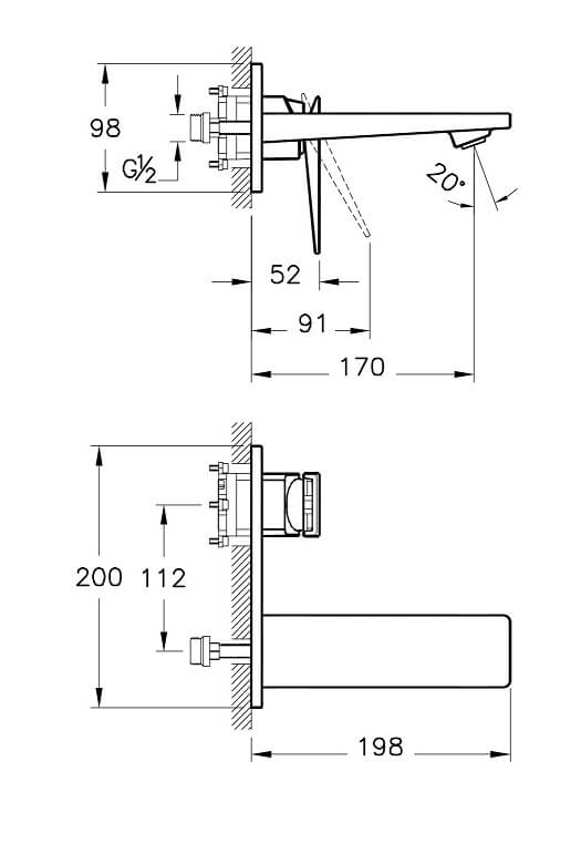 A42394IND - Loft Built-in Basin Mixer (Exposed Part) - Technical Drawing