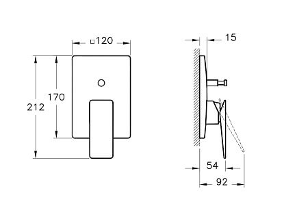 A42395IND - Loft Built-in Bath/Shower Mixer (Exposed Part) - Technical Drawing