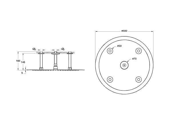 A45622IND - Lite LC Showerhead - Technical Drawing