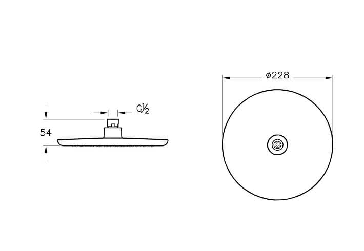 A45631EXP - Shine Round Showerhead - Technical Drawing