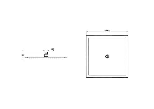 A45645IND - Lite LC Showerhead - Technical Drawing
