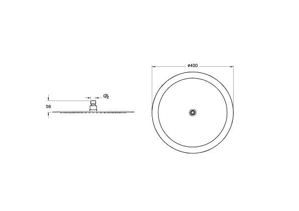A45646IND - Lite LC Showerhead - Technical Drawing