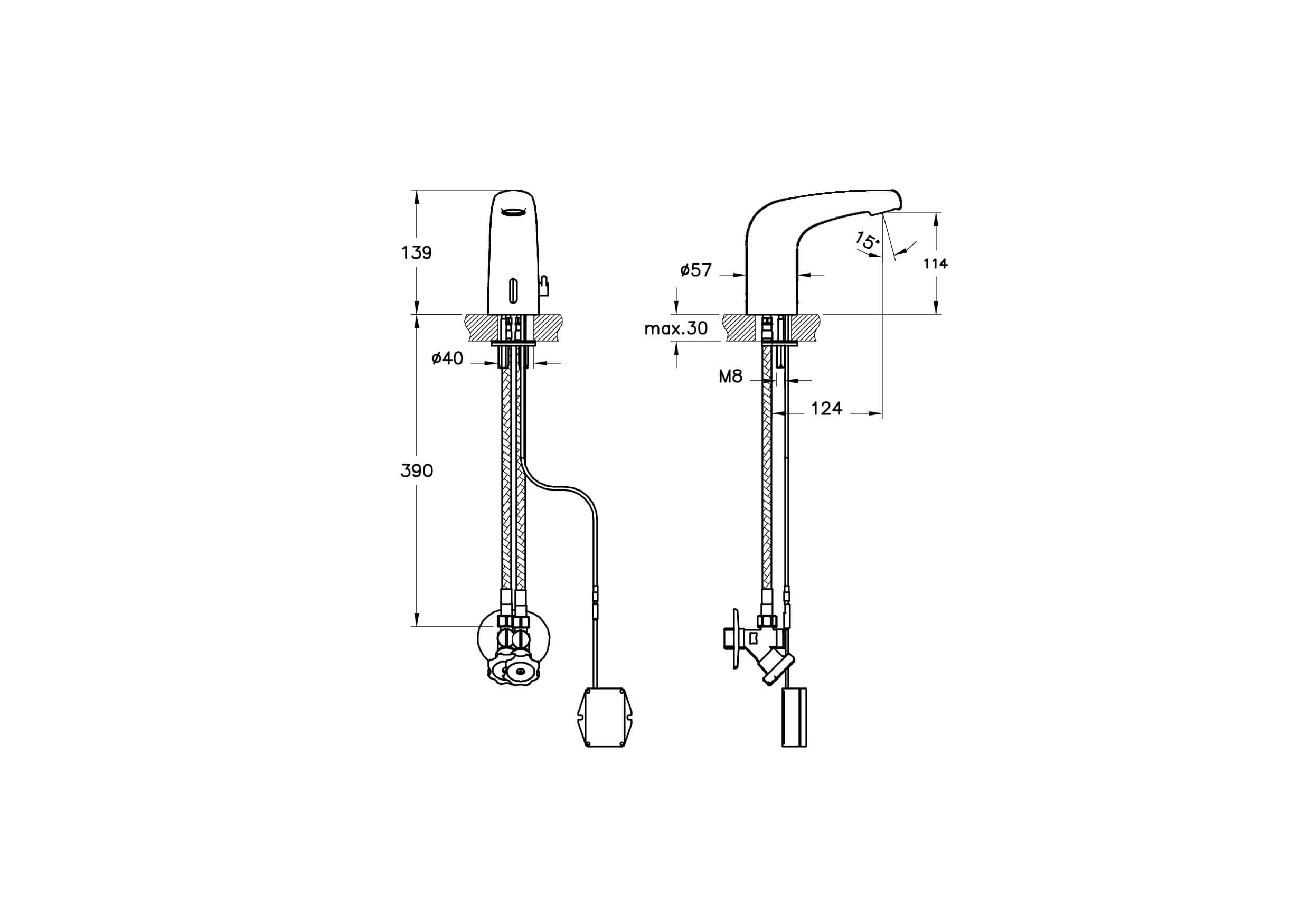A47105IND - Aquasee Wing Photocell Controlled Basin Mixer (Battery) - Technical Drawing