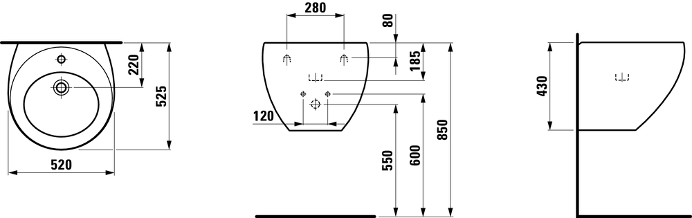 810971 - Washbasin with integrated siphon cover - Technical Drawing
