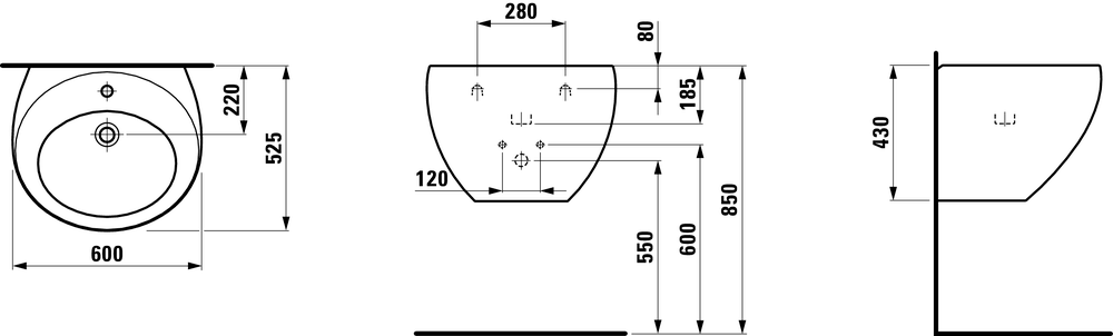 810972 - Washbasin with integrated siphon cover - Technical Drawing