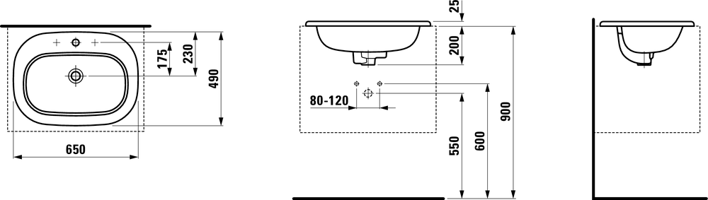 811682 - Drop-in washbasin - Technical Drawing