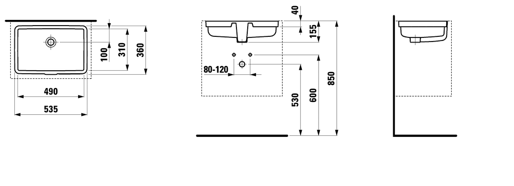 812430 - Built-in washbasin - Technical Drawing