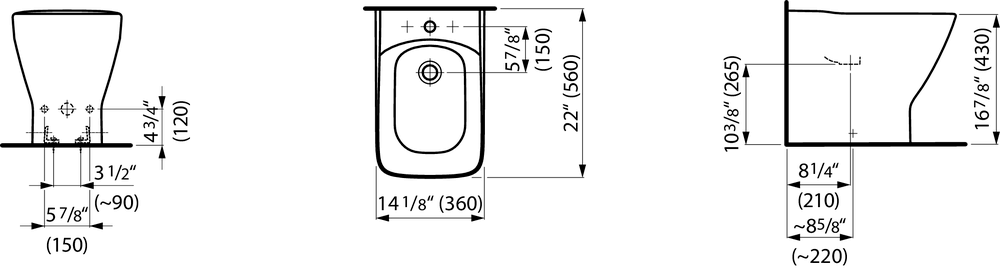 832701 - Floorstanding bidet - Technical Drawing