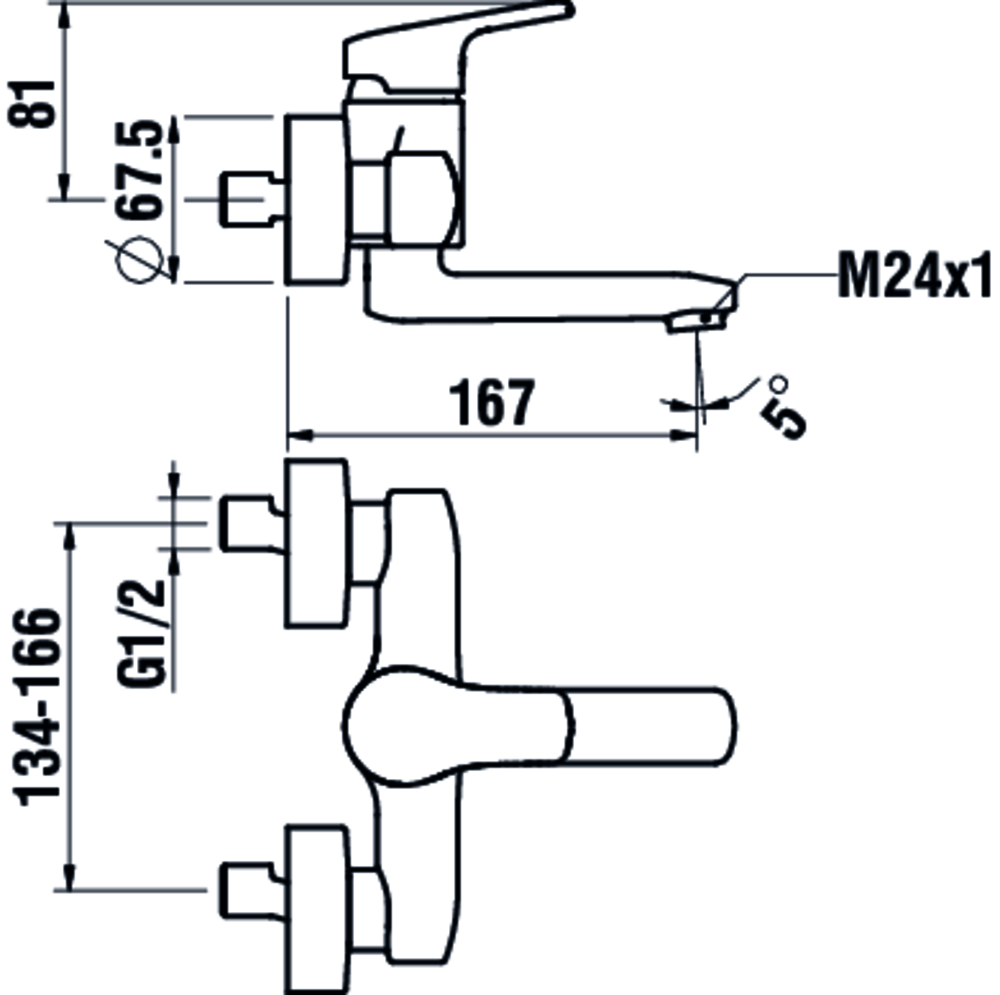3119570042201 - Wall-mounted basin mixer, projection 175 mm, with fittings - Technical Drawing