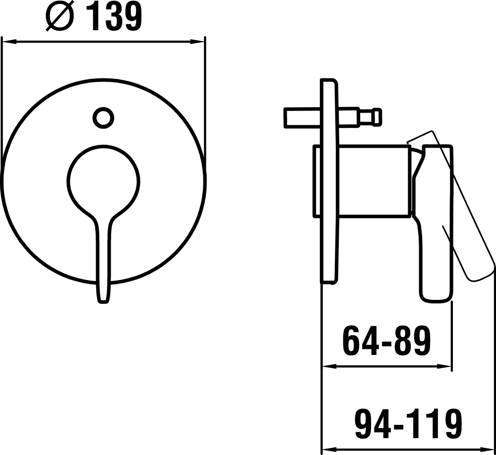 3217060040101 - Pre-assembled set for flushmounted bathtub mixer - Technical Drawing