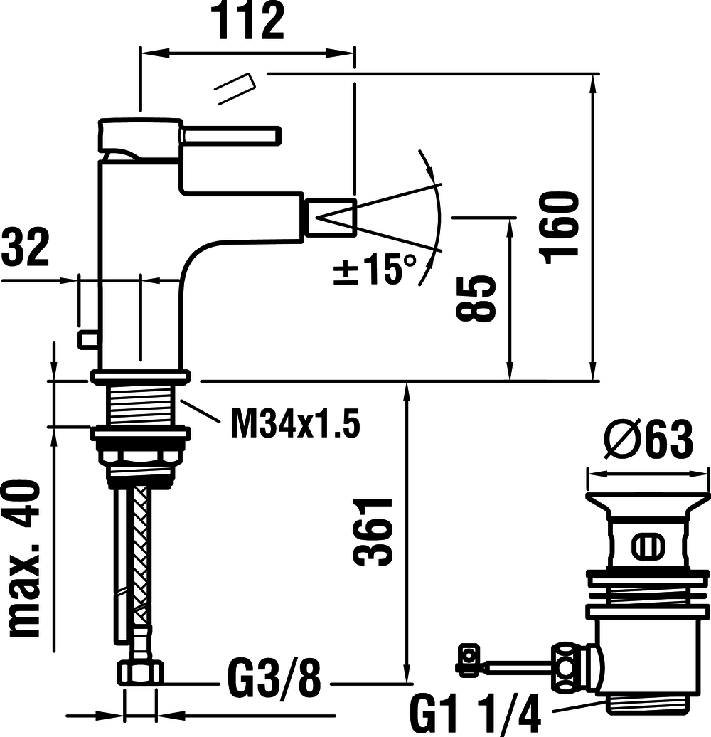 3416210041111 - Bidet mixer, projection 112 mm, fixed spout, with pop-up waste - Technical Drawing