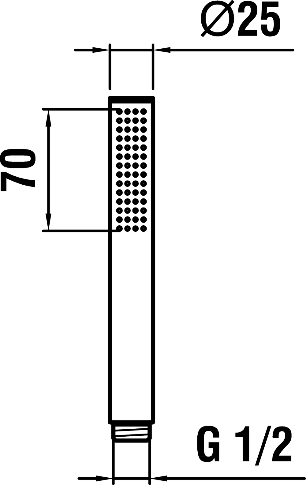 3619820041251 - TwinStick, handshower, with RubiClean - Technical Drawing