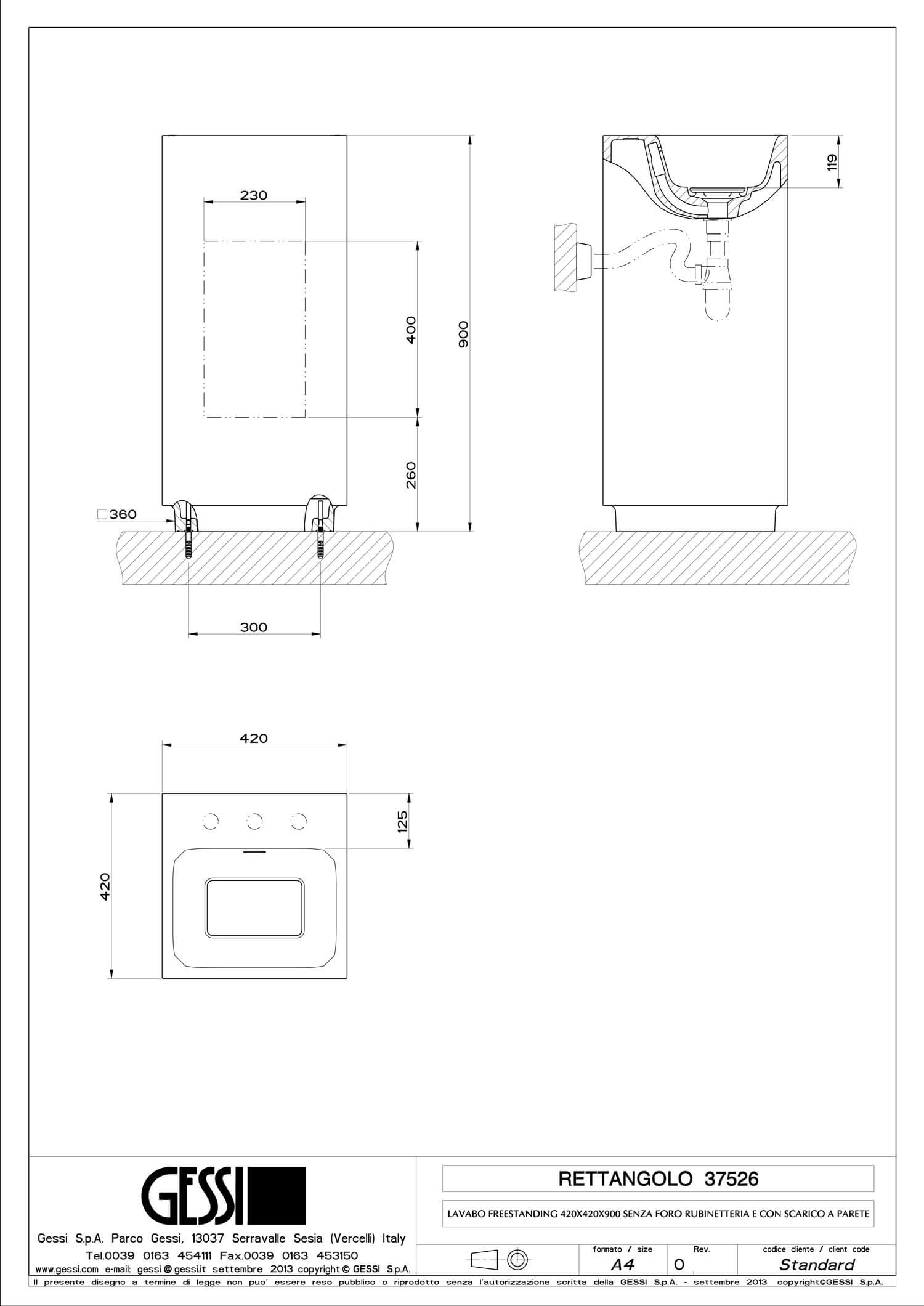 Art. 37526 - Freestanding washbasin in Cristalplant ® (matt white) with overflow waste. No holes for taps and fittings, fit for 3 holes. Wall drainage. Grille-plug and syphon included. - Technical Drawing