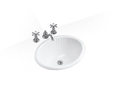 Self-rimming lavatory without faucet hole by Kohler at ABC Emporio Kochi