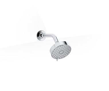 Geometric multi-mode showerhead with shower arm in polished chrome by Kohler at ABC Emporio Kochi